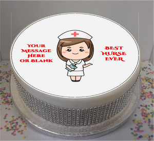"Personalised Best Nurse Ever 8"" Icing Sheet Cake Topper"