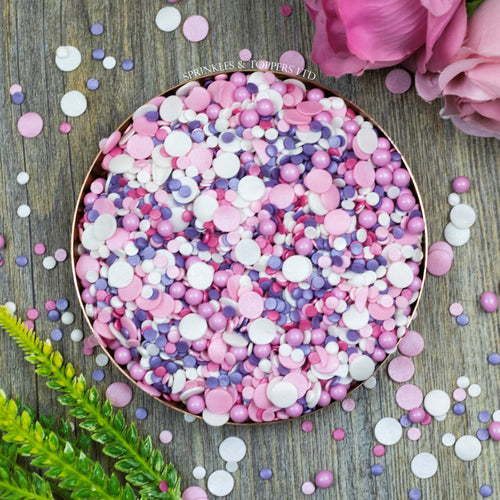 Perfect to top any cupcake or to decorate a larger cake, ice creams, smoothies, cookies and more  Beautiful mix of pink, white & purple 4mm glimmer confetti / pink & white glimmer confetti 10mm / 5mm pink chocolate balls