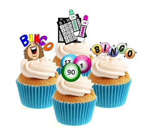 Bingo Collection Stand Up Cake Toppers (12 pack)  Pack contains 12 images ~ 3 of each image ~ printed onto premium wafer card#