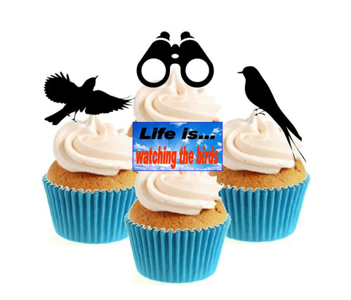 Bird Watching Stand Up Cake Toppers (12 pack) Pack contains 12 images - 3 of each image - printed onto premium wafer card
