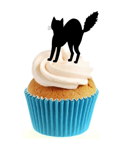 Black Cat Silhouette Stand Up Cake Toppers (12 pack)