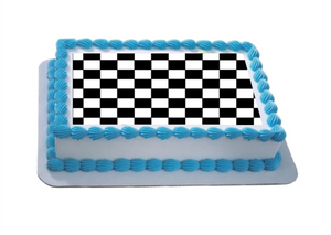 Black & White Check A4 Themed Icing Sheet  Icing sheet cake toppers are a great way to decorate any themed cake  Easy Peel Icing Sheet - No Fuss - Ready to pop straight onto your cake (full instructions included)