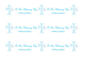 BLUE ON YOUR CHRISTENING DAY EDIBLE ICING CAKE RIBBON / SIDE STRIPS   Use instead of traditional ribbon to decorate the sides of your cakes  Edible fondant icing, perfect for that special occasion