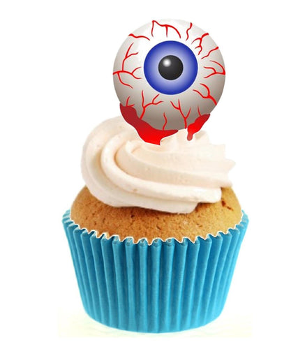 Blue Eyeball Stand Up Cake Toppers (12 pack)  Pack contains 12 images printed onto premium wafer card
