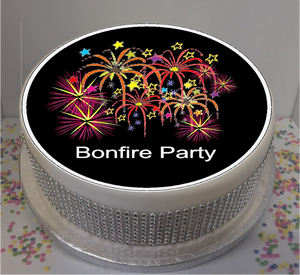 "Bonfire Party 8"" Icing Sheet Cake Topper  Icing sheet cake toppers are a great way to personalise either a homemade or shop bought plain cake  Easy Peel Icing Sheet - No Fuss - Ready to pop straight onto your cake (full instructions included)"