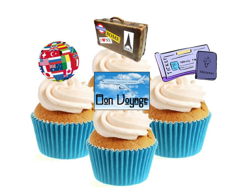 Bon Voyage Stand Up Cake Toppers (12 pack)  Pack contains 12 images - 3 of each image - printed onto premium wafer card