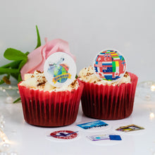 Load image into Gallery viewer, Choice of Wafer Paper or Icing discs  Pack contains 24 edible pre cut discs - 4 of each image  Ready to be added to your cakes, bakes or shakes  A completely edible cake decoration