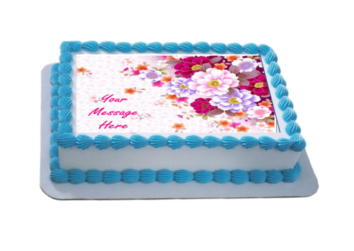 Personalised Bright Floral A4 Icing Sheet Topper