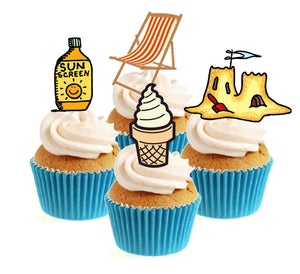 By The Seaside Collection Stand Up Cake Toppers (12 pack)  Pack contains 12 images - 3 of each image - printed onto premium wafer card