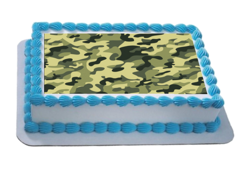 Camouflage Effect A4 Themed Icing Sheet  Icing sheet cake toppers are a great way to decorate any themed cake  Easy Peel Icing Sheet - No Fuss - Ready to pop straight onto your cake (full instructions included)