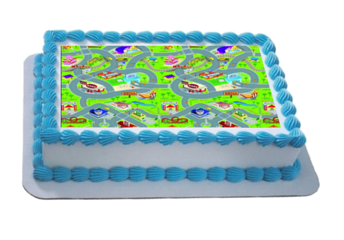 Cartoon Car Mat / Town A4 Themed Icing Sheet  Icing sheet cake toppers are a great way to decorate any themed cake