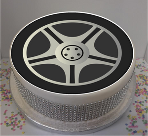"Car / Vehicle Wheel 8"" Icing Sheet Cake Topper   Icing sheet cake toppers are a great way to personalise either a homemade or shop bought plain cake"