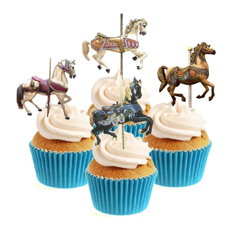 Carousel Horses Stand Up Cake Toppers (12 pack)  Pack contains 12 images - 3 of each image - printed onto premium wafer card