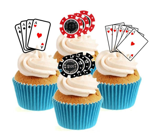 Casino / Poker Party Collection Stand Up Cake Toppers (12 pack)