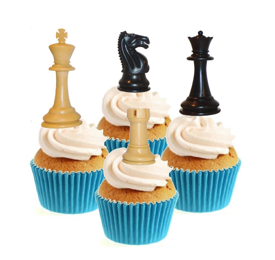 Chess Collection Stand Up Cake Toppers (12 pack)  Pack contains 12 images ~ 3 of each image ~ printed onto premium wafer card