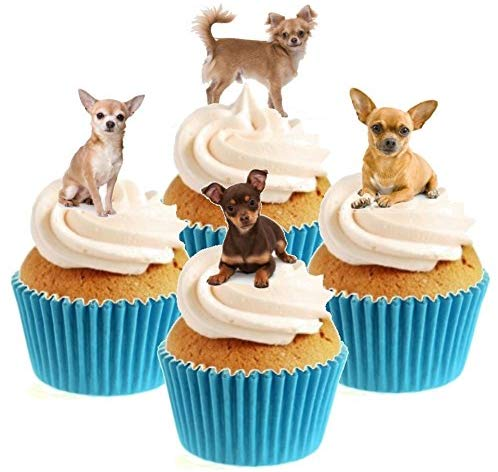 Chihuahua Stand Up Cake Toppers (12 pack) Pack contains 12 images - 3 of each image - printed onto premium wafer card