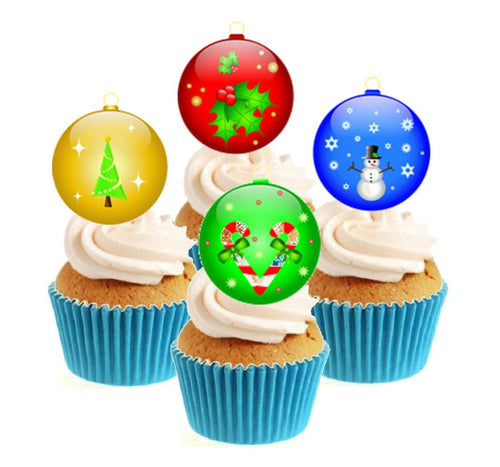 Christmas Baubles Stand Up Cake Toppers (12 pack)  Pack contains 12 images - 3 of each image - printed onto premium wafer card