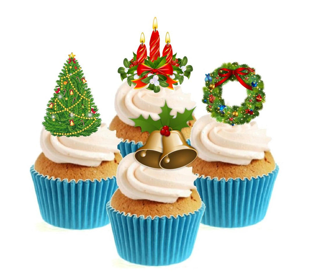 Christmas Collection Stand Up Cake Toppers (12 pack)  Pack contains 12 images - 3 of each image - printed onto premium wafer card