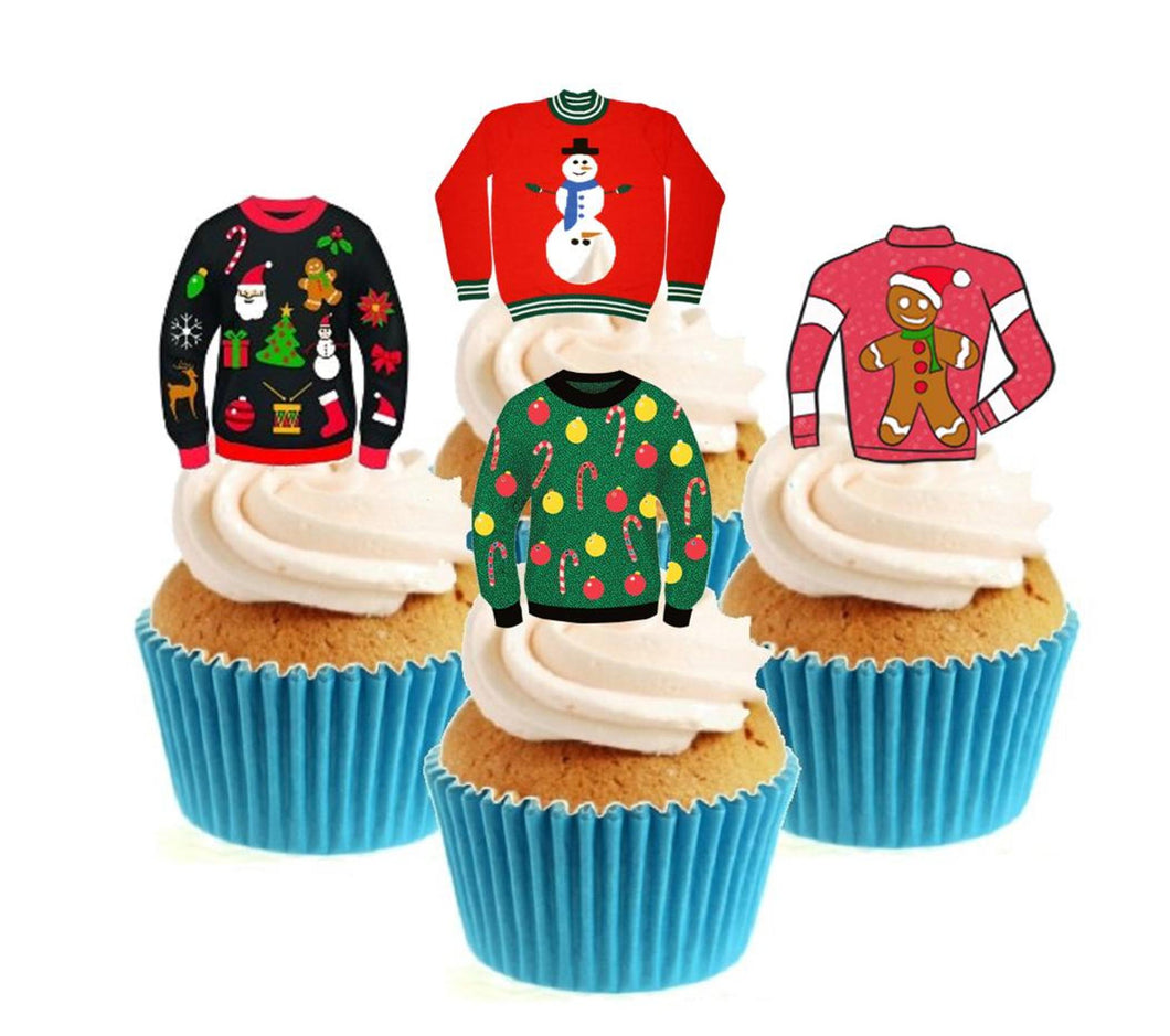 Christmas Jumpers Collection Stand Up Cake Toppers (12 pack)  Pack contains 12 images - 3 of each image - printed onto premium wafer card
