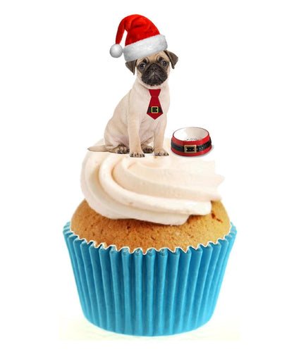 Christmas Pug Stand Up Cake Toppers (12 pack)