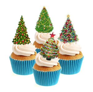 Christmas Trees Collection Stand Up Cake Toppers (12 pack)  Pack contains 12 images - 3 of each image - printed onto premium wafer card