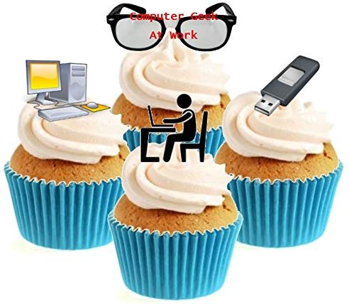 Computer Geek Collection Stand Up Cake Toppers (12 pack)