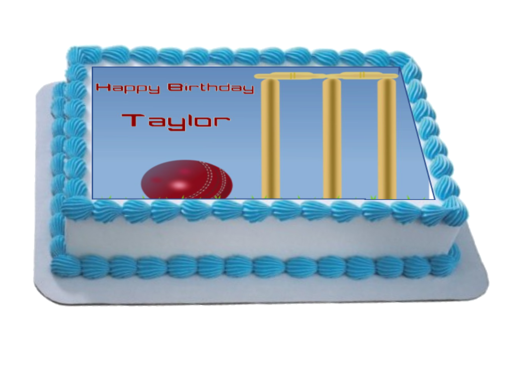 Personalised Cricket Scene A4 Icing Sheet Topper