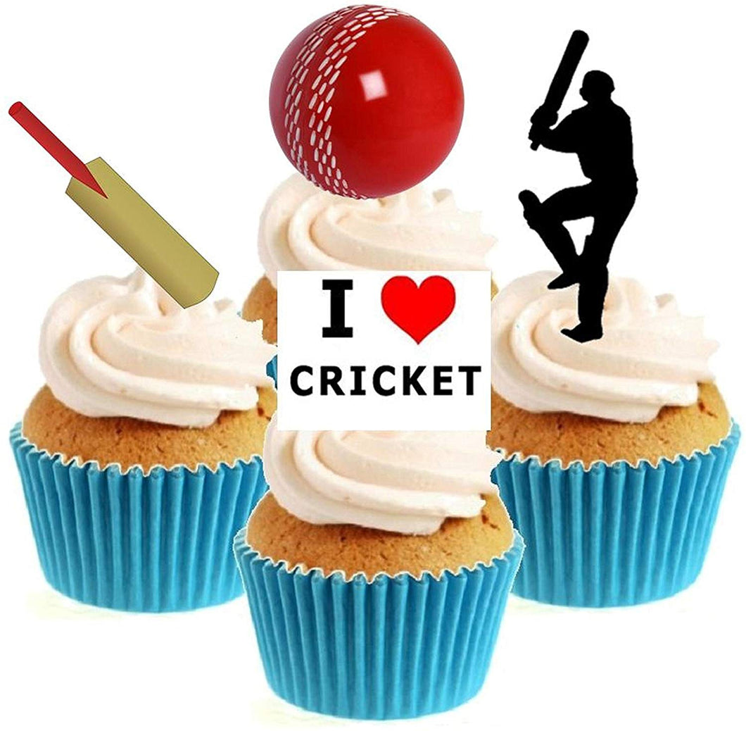 Cricket Collection Stand Up Cake Toppers (12 pack)  Pack contains 12 images - 3 of each image - printed onto premium wafer card