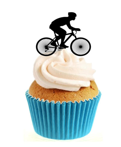 Cycling Silhouette Stand Up Cake Toppers (12 pack)