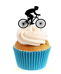 Cycling Silhouette Stand Up Cake Toppers (12 pack)  Pack contains 12 images printed onto premium wafer card