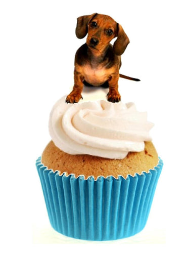 Dashchund Stand Up Cake Toppers (12 pack)  Pack contains 12 images printed onto premium wafer card