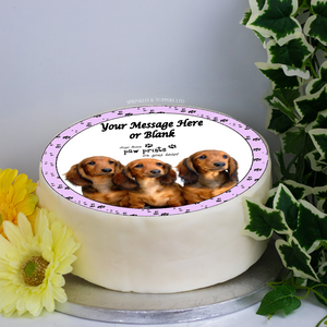 "Personalised Dachshund Puppies Scene 8"" Icing Sheet Cake Topper"