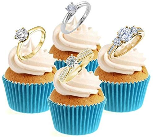 Diamond Rings Collection Stand Up Cake Toppers (12 pack)  Pack contains 12 images - 3 of each image - printed onto premium wafer card