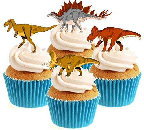 Dinosaurs Stand Up Cake Toppers (12 pack)  Pack contains 12 images - 3 of each image - printed onto premium wafer card