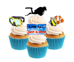 Diver Collection Stand Up Cake Toppers (12 pack)  Pack contains 12 images ~ 3 of each image ~ printed onto premium wafer card