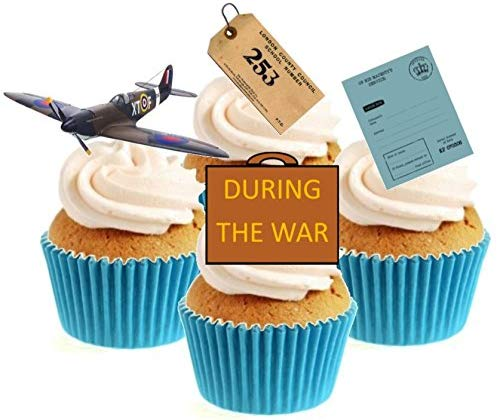 During The War Collection Stand Up Cake Toppers (12 pack)  Pack contains 12 images - 3 of each image - printed onto premium wafer card