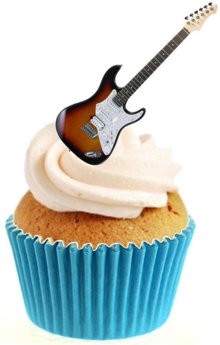 Electric Guitar Stand Up Cake Toppers (12 pack)  Pack contains 12 images printed onto premium wafer card