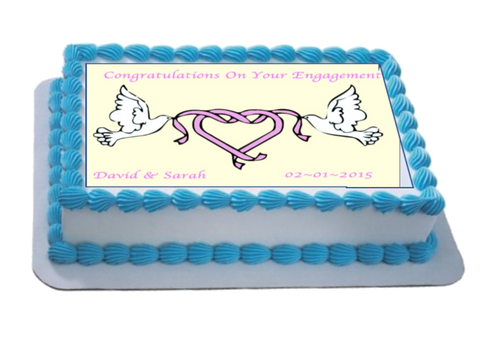 Personalised Engagement Doves A4 Icing Sheet Topper