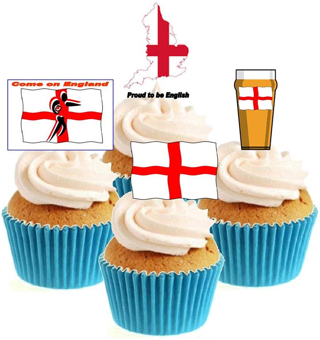 English Rugby Collection Stand Up Cake Toppers (12 pack)  Pack contains 12 images - 3 of each image - printed onto premium wafer card