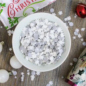 Lovely mix of white stars, white snowflakes & silver glimmer confetti (4mm & 10mm)