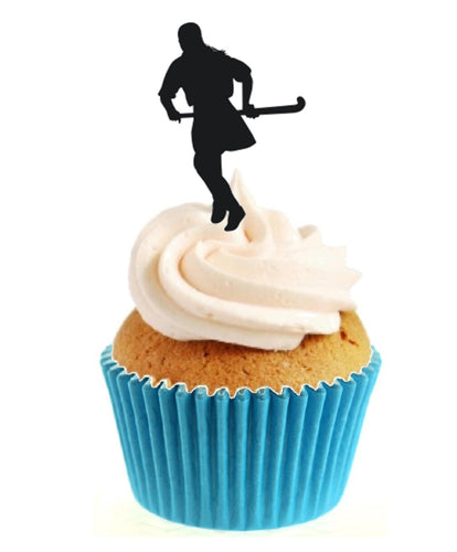 Field Hockey Female Silhouette Stand Up Cake Toppers (12 pack)
