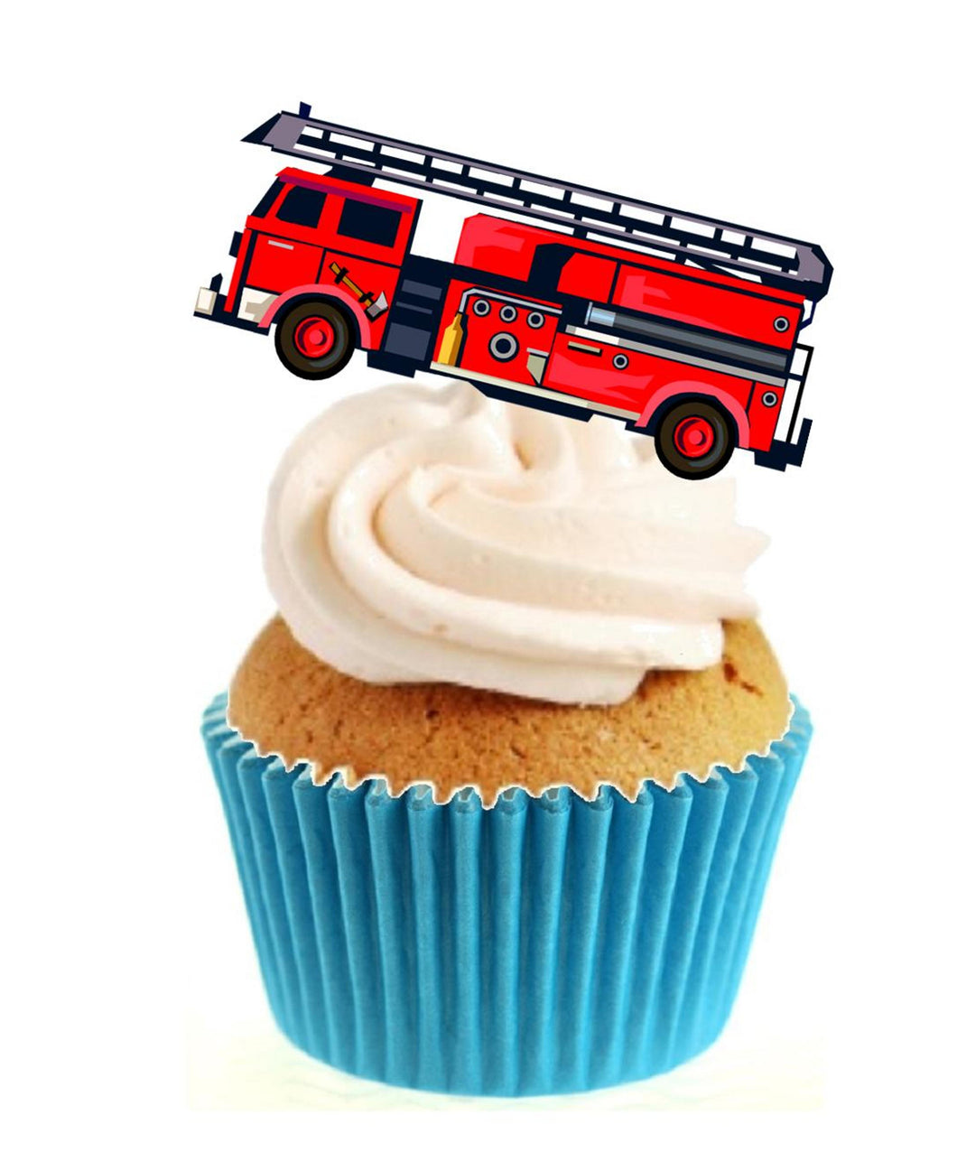 Fire Engine Stand Up Cake Toppers (12 pack)  Pack contains 12 images printed onto premium wafer card
