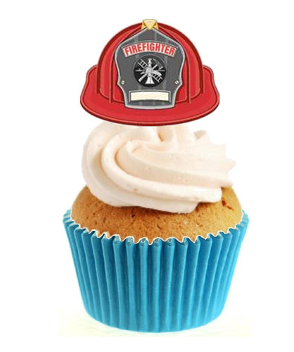 Fire Fighter Helmet Stand Up Cake Toppers (12 pack)
