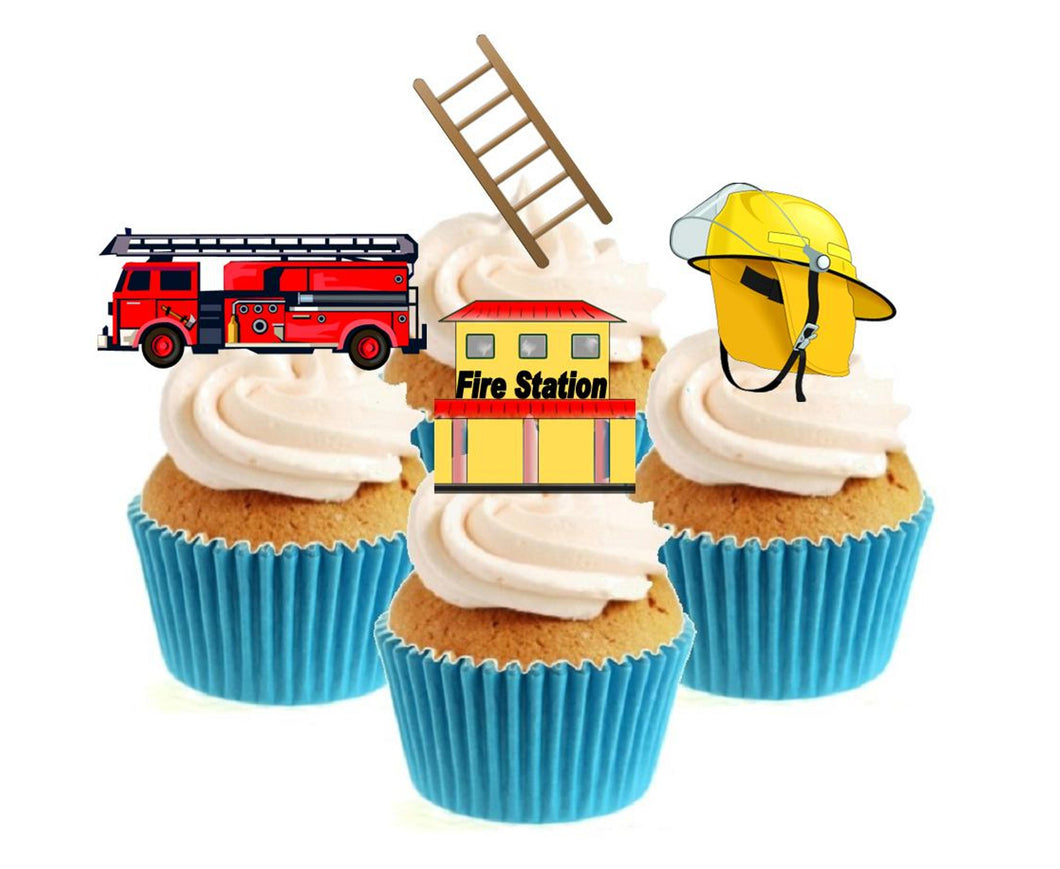 Fire Fighter Stand Up Cake Toppers (12 pack)  Pack contains 12 images - 3 of each image - printed onto premium wafer card