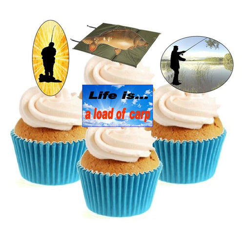 Fishing Collection (A) Stand Up Cake Toppers (12 pack)  Pack contains 12 images ~ 3 of each image ~ printed onto premium wafer card