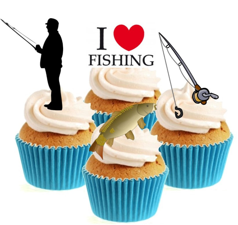 Fishing Collection Stand Up Cake Toppers (12 pack)  Pack contains 12 images ~ 3 of each image ~ printed onto premium wafer card