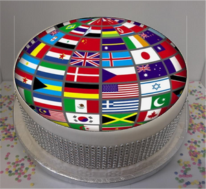 "Flag Globe 8"" Icing Sheet Cake Topper"