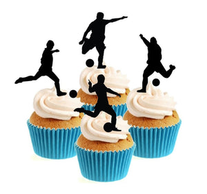 Football Silhouette Collection Stand Up Cake Toppers (12 pack)  Pack contains 12 images - 3 of each image - printed onto premium wafer card