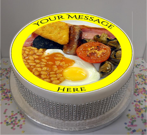 "Personalised Full English Breakfast 8"" Icing Sheet Cake Topper"