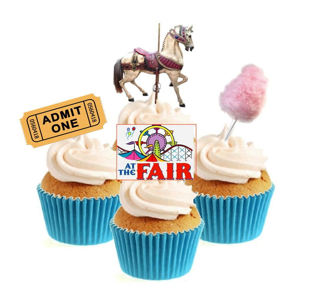 Fun At The Fair Collection Stand Up Cake Toppers (12 pack)  Pack contains 12 images - 3 of each image - printed onto premium wafer card